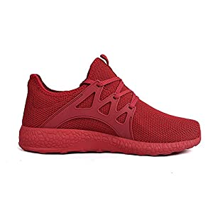 Feetmat Womens Sneakers Ultra Lightweight Breathable Mesh Athletic Running Shoes Plus Size 7 Red