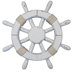 Hampton Nautical Rustic White Ship Wheel, 12""