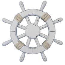 """Hampton Nautical  Rustic White Ship Wheel, 12"""""""