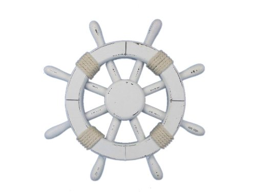 Hampton Nautical  Rustic White Ship Wheel, 12
