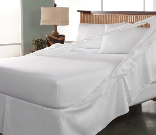 Tailor Fit Easy on Easy off Bedskirt and Box Spring Protector, California King, White (Cal King Bedskirt)