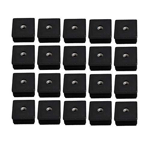 20 piezas Inserciones de tubo roscadas de plastico Extremos de tubo Inserciones de tubo roscadas cuadradas M8 de 40 mm x 40 mm, para tapones de gran altura, tapones, taburetes de mesa, mesas de sofa