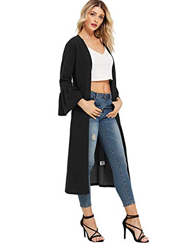 WDIRARA Women's Ruffle Flounce Bell 3/4 Sleeve Knee Length Long Cardigan Duster Coats Black M