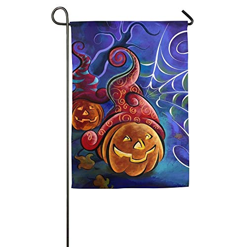 LF-LFFT Halloween Pumpkins and Spider Web Drawing GardenFlag Indoor & Outdoor Decorative Flags for Parade Sports Game Family Party Wall Banner 2840Inch ()