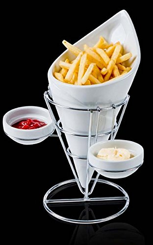 Evviva: Porcelain French Fries Coneholder with Metal Base and Condiment Cups for Sauces [ Italian Import ] - French Fry Stand
