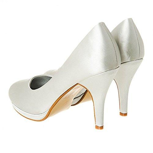 Prom 5 7 Partiet Court Hæl Sølv 6 Kvinner Størrelse Satin Lav Liten 3 4 8 Brude Sko Plattform Diamante zx8wwnO