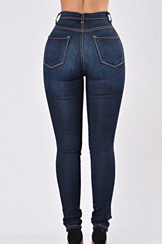 Slim Donne Alta Si Normali Le Vita Jeans Elastico Pantaloni Scappando Navy IfqwdATn