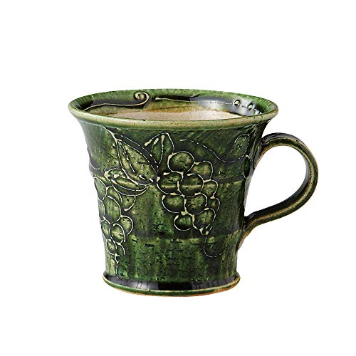 Green Minoyaki Tea Cup Mug with Grapevine Design Made in Japan