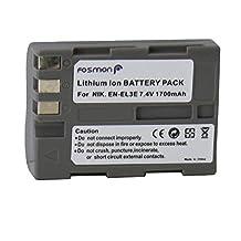 Fosmon® Premium (Brand New) Lithium-Ion EN-EL3E High-Capacity (1700mAh) 7.4v Battery Pack for Nikon: D-Series D100, D200, D300, D300S, D700, D50, D70, D70s, D80, D90 - Ships in Fosmon Retail Packaging