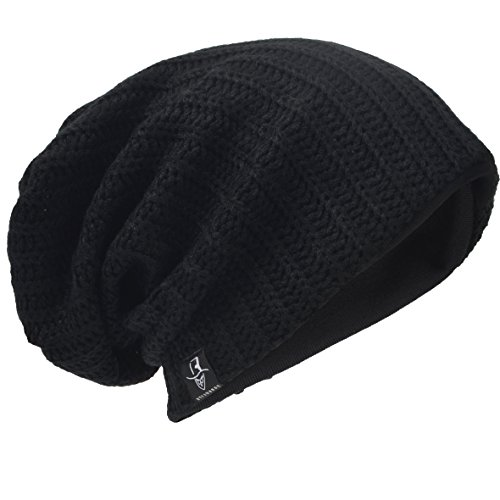 HISSHE Men Oversize Skull Slouch Beanie Large Skullcap Knit Hat (Ribbed-Black)