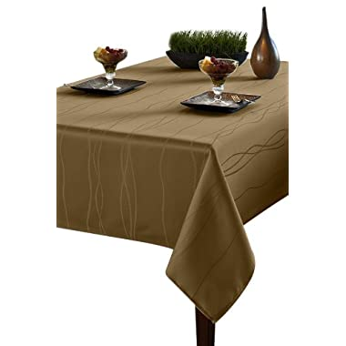 Benson Mills Gourmet Spillproof Heavy Weight Fabric Tablecloth, Linen, 52-inch by 70-inch