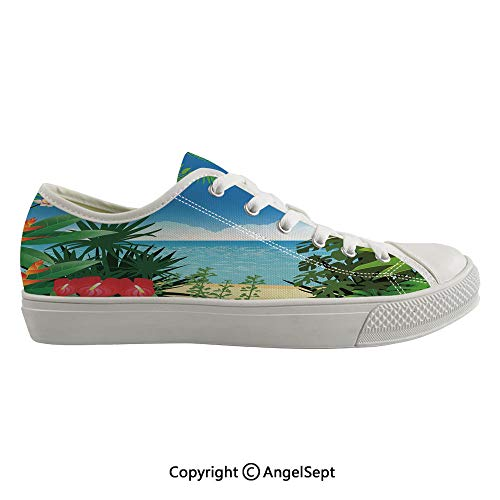 (Durable Anti-Slip Sole Washable Canvas Shoes 17.32inch Beach Theme Island Jungle Sea Shore Ocean View with Side Flowers Crepe Gingers Print,Multicolor Flexible and Soft Nice Gift)