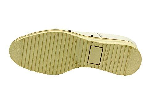 Calzado mujer confort de piel Piesanto 8631 zapato cordones plantilla extraíble cómodo ancho Blanco