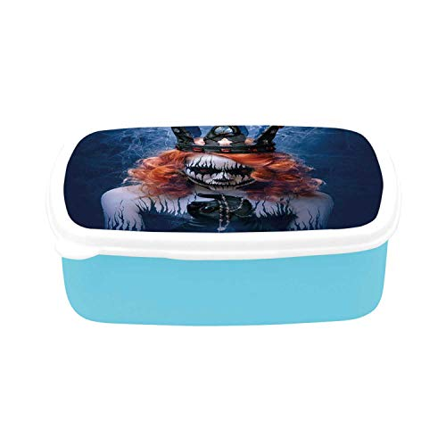Queen Simple Plastic Lunch Containers,Queen of Death Scary Body Art Halloween Evil Face Bizarre Make Up Zombie for home,7.09