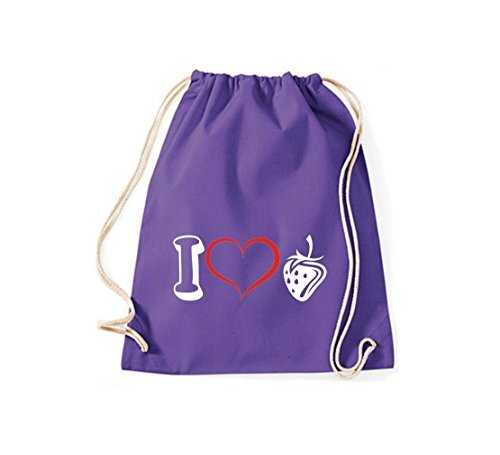Shirtstown Bolsa de deportes Fruta I love Fresa Púrpura