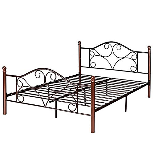 Bedroom Footboard Vintage - Giantex Queen Size Platform Bed Frame 9-Leg Support Mattress Foundation Metal Base Home Bedroom Furniture with Sturdy Metal Slats and Vintage Headboard and Footboard, Chocolate