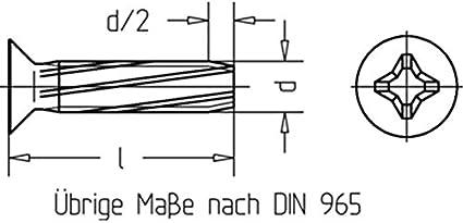 Gewinde-Schneidschrauben Senkkopf-D-H galv DIN 7516 verzinkt M 6 x 25-500 St/ück