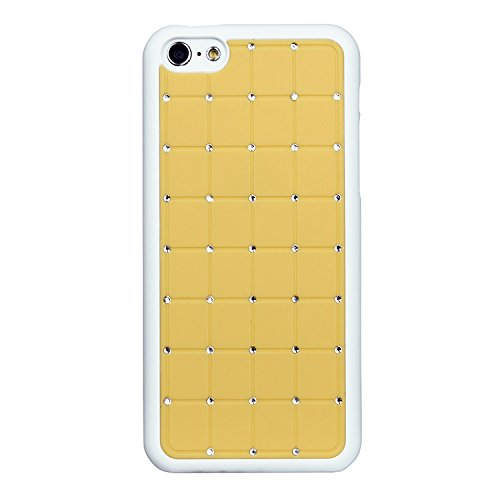 Compact 5c Maison de style Iphone CRYSTAL Croix diamant jaune Case Hard Cover Bling avec cadre blanc pour Apple iPhone 5C