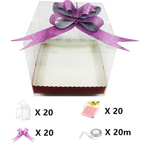 Apple Gift Box - 4inX4inX4in Clear Candy Apple Boxes Set With Hole Top for Caramel Apples, Ornaments,Treats,Party Favors,Baby Shower,Gift,Cupcakes,Cookie. Pack of 60 Including BoxesX20,BasesX20,BowknotsX20,RibbonX20m