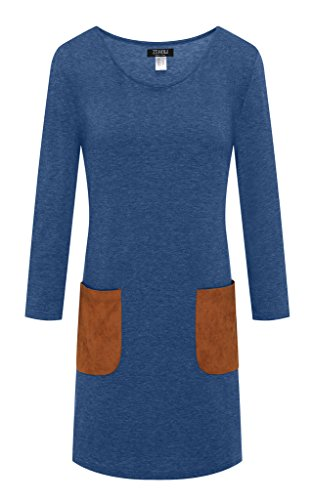 ZSHOW Women's Basic 3/4 Sleeves Tunic Tops Round Neck T-shirt Dress(Navy,Small)