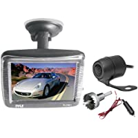 Pyle Backup Car Camera  Rearview Monitor System - Parking and Reverse Assist w/ Waterproof and Night Vision Abilities, 3.5 Monitor Display Screen, Wide Angle Lens and Distance Scale Lines - (PLCM31)