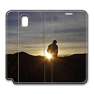 Brain114 Fashion Style Case Design Flip Folio PU Leather Cover Standup Cover Case with Admiring The Sunrise Pattern Skin for Samsung Galaxy Note 3