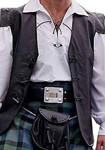 Jacobite Waistcoat - Mens Real Black Leather Jacobite Toggle Waistcoat Vest