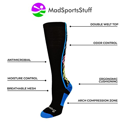 MadSportsStuff Crazy Socks Lightning Bolts Electric Storm Over the Calf (Multi-Neon/Black, Small) by MadSportsStuff (Image #2)
