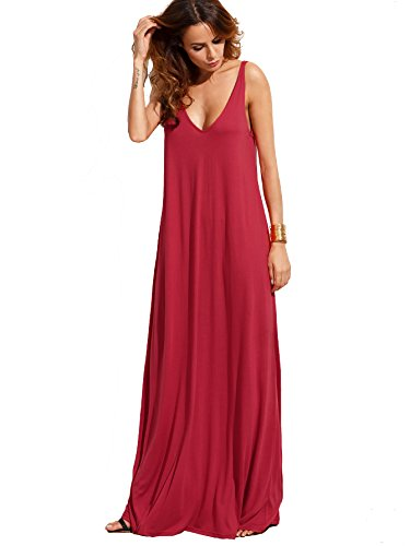 Verdusa Women's Casual Sleeveless Deep V Neck Knitted Shift Sexy Maxi Long Dress Burgundy L
