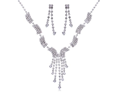 Alilang Swarovski Crystal Elements Clear Multi-Strand Wave Shapes Necklace Earring Set