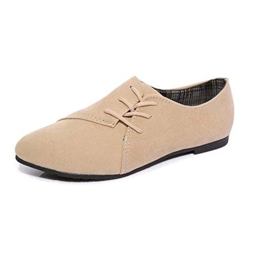 Ni Ouneed Moda Zapatos Plana para Abajo Casual Las Encaje Zapatos Mujer Beige as Mujeres Cabeza w4pYqaFW