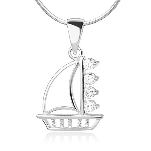 Sterling Silver CZ Cubic Zirconia Open Sail Boat Sailboat Ship High Polished Pendant Necklace 18