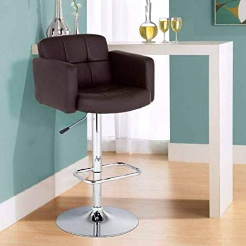 Trek Large Espresso Faux Leather Adjustable Swivel Bar Stool – Studio 55D