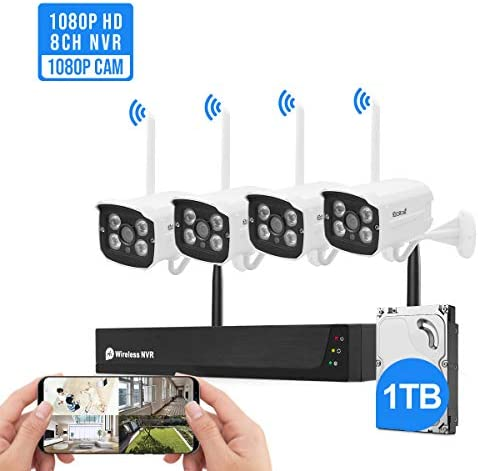 Wireless Security Camera System Plug Play 1080P 8CH NVR 4Pcs 2MP WiFi Video Surveillance Cameras with 1TB Hard Drive, H.265 Night Vision, Motion Detection, P2P, 24 7 Recording Home Outdoor