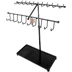 MyGift 15 inch Black Metal 30-Hook Necklace / Bracelet Jewelry Organizer Display Rack