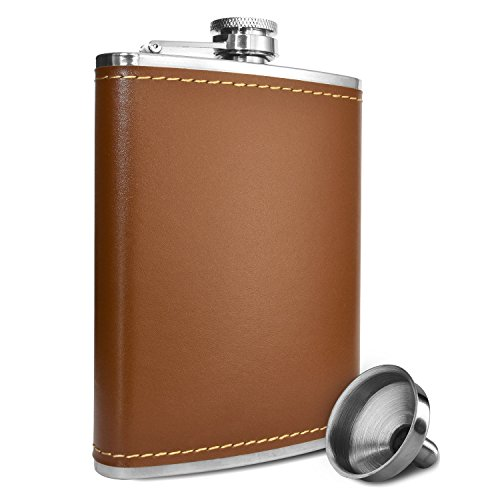 Premium-8-oz-Soft-Touch-Leather-Wrap-Outdoor-Adventure-Flask-304-Stainless-Steel-Leak-Proof-Liquor-Hip-Flask-by-Future-Hydrate-Includes-Free-Bonus-Funnel-8-ounce-capacity