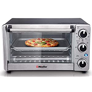 Convection Toaster Oven 4 Slice, Multi-function Stainless Steel Counter-top Design with Timer – Toast – Bake – Broil Settings – 1100 Watts of Power, Includes Baking Pan and Rack by Mueller Austria 41PU44b0ApL