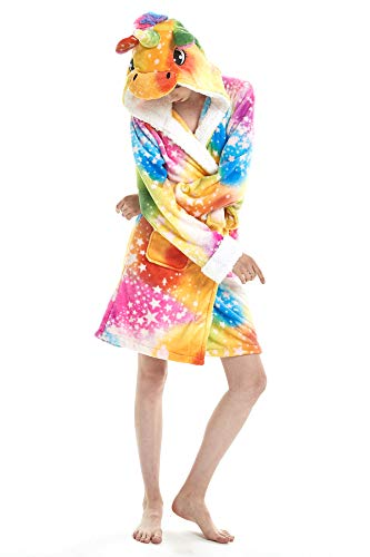 JOXJOZ Women's & Men Unicorn Hooded Bathrobe Soft Fleece Sleepwear Loungewear Cosplay Costume Pajamas Unisex Robes Gifts (Multicoloured-Stars-A, M(Suggested Height 5'0