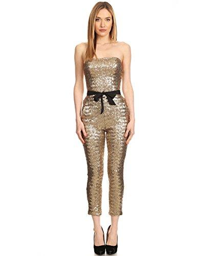 Bianca – Off shoulder gold jump suit with waist tie