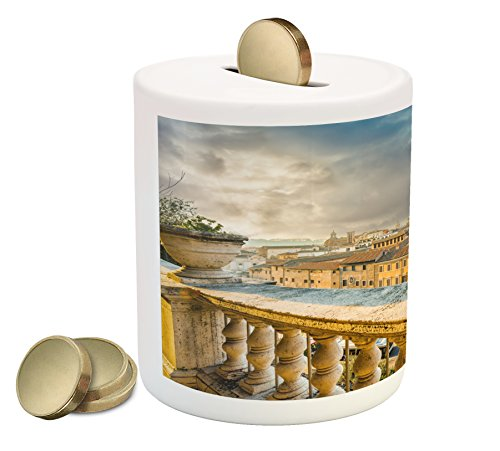 (Lunarable Italian Piggy Bank, Panoramic View of The Historic Center of Rome from Ancient Balcony Aerial, Printed Ceramic Coin Bank Money Box for Cash Saving, Yellow Pale Brown)