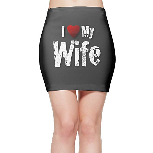 I Love My Wife Women's High Waist Bodycon Pencil Skirt Strethcy Short Fitted Mini Skirt