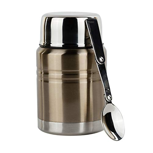 (Insulated Food Thermos & Meal Container with Collapsible Spoon (16 oz.) Stainless-Steel Food Jar Hot and Cold Storage | Soup, Coffee, Water, Liquids | Airtight, Leakproof)