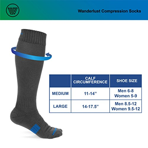 Wanderlust Compression Socks For Men & Women - Guaranteed Support To Eliminate Pain, Swelling, Edema - Best For Flight, Travel, Nurses, Maternity, Pregnancy, Varicose Veins, Stamina & Pain Relief. by Wanderlust (Image #8)