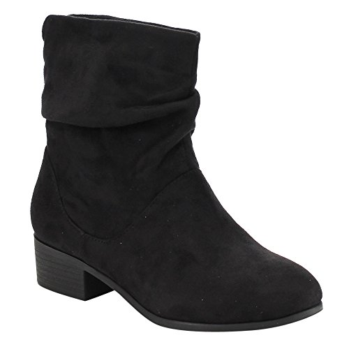 Soda FD58 Women's Slouchy Pull On Low Block Heel Ankle Booties