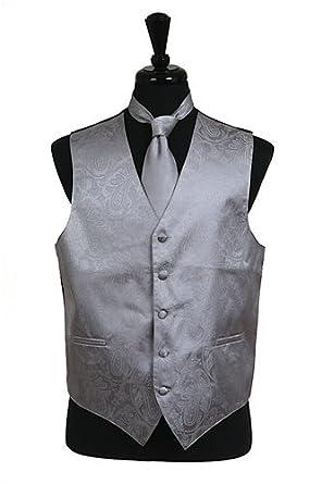 Classy Mens Grey Silver Paisley Tone on Tone Vest, Tie and Hanky 3 Piece Set