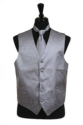 Set Grey And Paisley Tone Men's Hanky Classy VestTie Piece Silver On 3 hCrBtsdQx