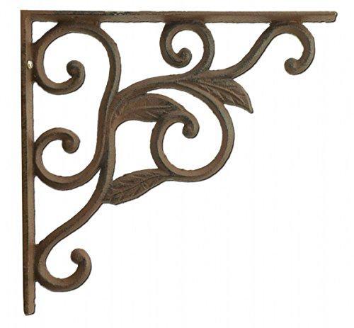 (Wall Shelf Bracket Leaf Vine Cast Iron Brace 8.75