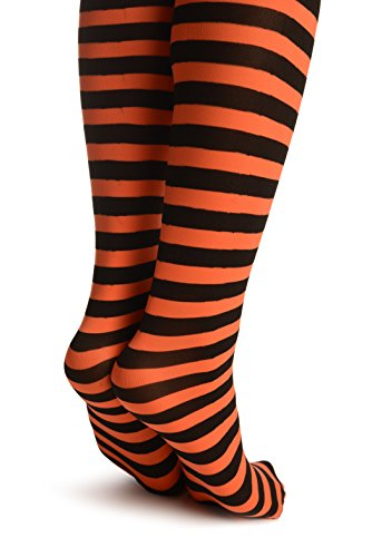 Black & Orange Stripes - Hold Ups - Naranja Medias autoadhesivas Talla unica (34-42)