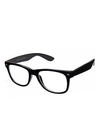 f8a35358a8de1 PURECITY Lunettes Monture Style Retro Vintage 80 s Geek - Monture Noir -  Verres Neutre Transparent -