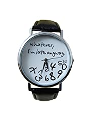 Coromose Fashion women's Wathever I am Late Anyway Letter Wrist Watches (black)